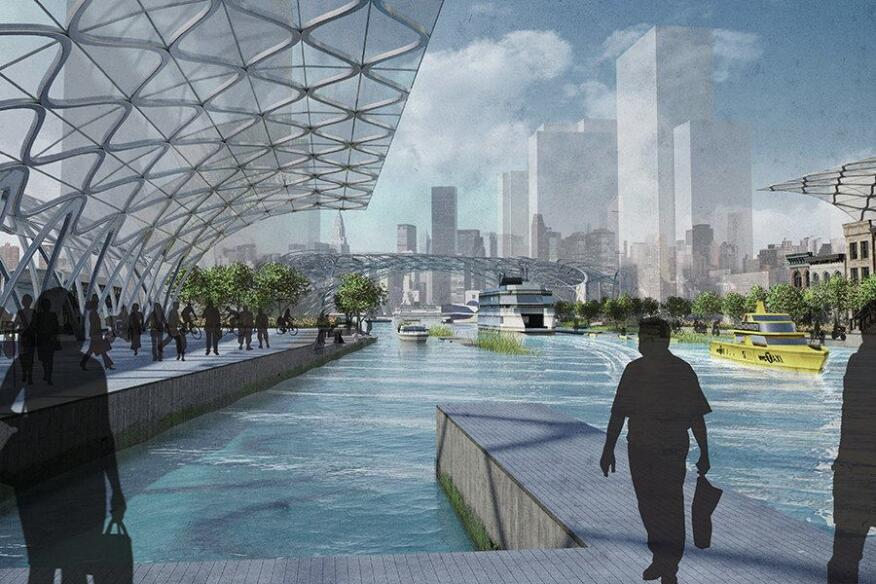 "Dlandstudio, Hybrid Urban Base for Queens, N.Y., from the ""Glimpses of New York and Amsterdam in 2040"" exhibition."
