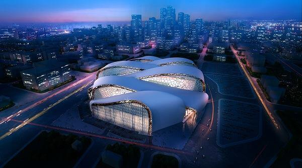 A preliminary rendering by HKS for the new Minnesota Vikings football stadium to bebuilt in downtown Minneapolis.