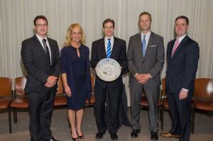 2013 U.S. Water Prize Winners: (R to L) David Primozich, TFT; Kim Marotta, MillerCoors; Ben Grumbles, USWA; Joe Whitworth, TFT, Matthew Millea, Onondaga Co. (NY)