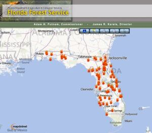 Florida officials say the fire season is heating up, with dozens of  current or recent fires reported throughout the state.