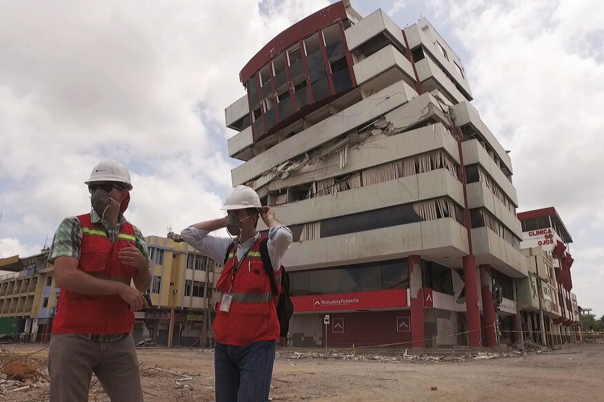 Degenkolb engineer Gordy Wray and Perkins Eastman architect Stephen Forneris prepare to assess building conditions in Portoviejo, Ecuador, after the April 16, 2016, earthquake.