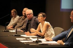 Public panel discussion on mentoring in architecture from the Venice Architecture Biennale. Left to right: Alison Crawshaw, Sahel Al Hiyari, Sir David Chipperfield, Kazuyo Sejima, Hans Ulrich Obrist (moderator).