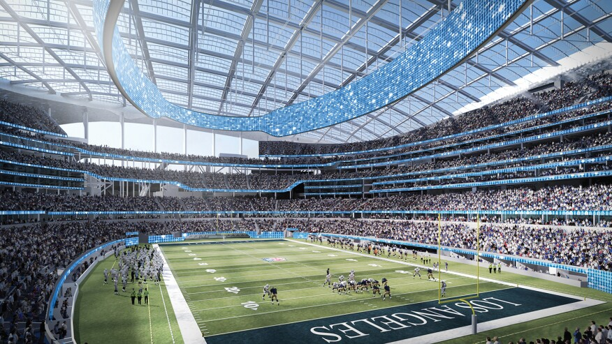 A rendering of the forthcoming Los Angeles NFL Entertainment District Stadium featuring an expansive ETFE roof and ample daylighting on the field of play and in the bowl.