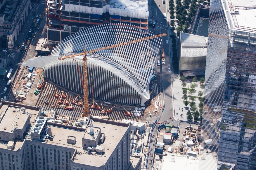 Santiago Calatrava, Hon. FAIA's World Trade Center Transportation Hub, in Manhattan, under construction in August 2015.