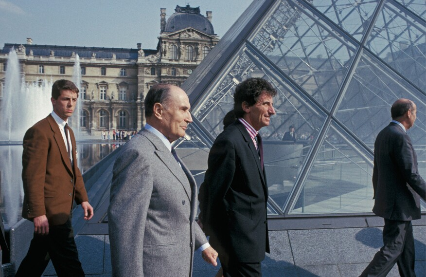 Francois Mitterand at the pyramid opening on March 29, 1989