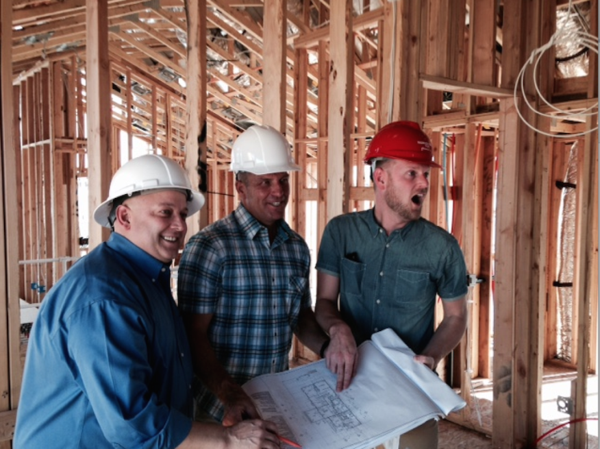 Responsive Home team members, TRI Pointe vp of purchasing Kevin Wilson, Pardee Las Vegas president Klif Andrews, and project creative director Bobby Berk enjoy a moment of vehement mirth during the frame-walk.