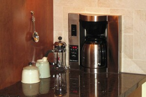 Thermador's built-in stainless steel   BICM24CS has six levels of grind quality and includes a steam wand that also dispenses hot water.