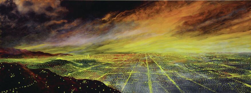 A 1990 depiction of the metropolis by the artist Peter Alexander.