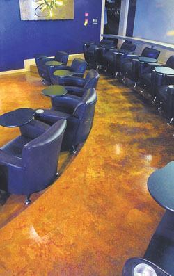 Educational institutions, such as this culinary school, are a growing market for decorative concrete flooring. A self-leveling microtopping was used on this floor.