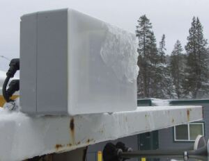 Occasional ice buildup on the front of the roof-mounted electronically scanning radar produced a thin layer of water that absorbed most of the radio signal, rendering the unit ineffective. Because neither Alaska nor Minnesota experienced this issue during winter storms, Caltrans concluded the problem was caused by the type of snow prevalent in the Sierra Nevada mountains.