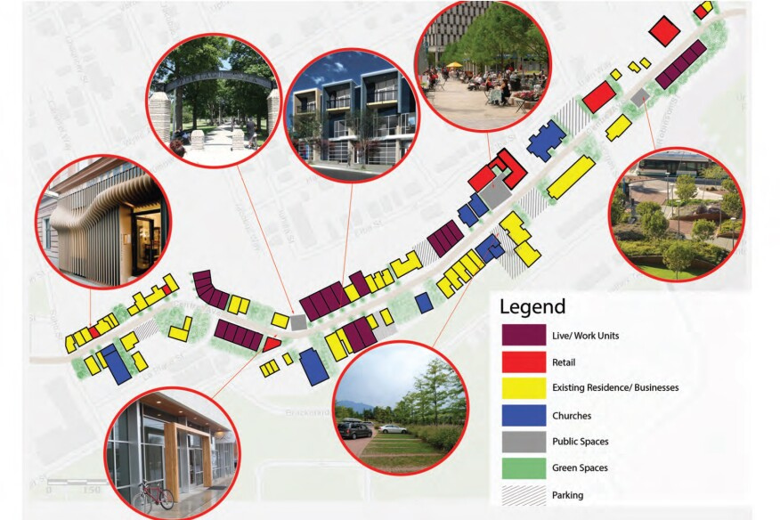 The 2014 UDream fellows envisioned the redevelopment of the Centre Avenue corridor in Pittsburgh's Hill District, integrating affordable housing with five themes, including live-work housing that they aptly named Dream Units.