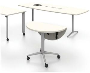 Merge tablesAllsteel Inc.www.allsteeloffice.com  Three models designed for advanced functionality - Power bay stores and provides access to technology tools - Adapts to create meeting space and docks level with other surfaces - Height-adjustable lift-and-release latch adjusts from sit to stand - Exceeds BIFMA standards