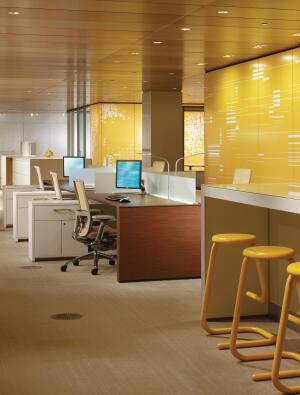 "This desking product, part of Haworths Compose line, includes a 29""-high panel, power routing and access below the work surface, a frameless glass topper, wood trim components, and knife-edge work surfaces. It can be arranged in a benching configuration as well as in other desking applications; the top trim of the 29"" panel lines up with the tops of work surfaces, providing a clean aesthetic. The panel height also provides power and data routing below the work surface and at base locations. A new three-way tile spanning kit eliminates reveal lines usually found at a three-way junction. It comes in the same surface options and with the same adaptable components as existing Compose products. haworth.com"