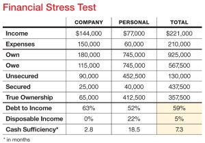 "This table summarizes both company and personal income and expense data. The ""Total"" column in the three bottom rows displays critical information about  the viability of the business and itís ability to support the ownerís personal living expenses. Debt-to-income ratio should be no higher than 36%. Disposable income can be reduced by the amount shown and still cover expenses. Cash sufficiency shows for how many months expenses can be covered if income does not increase."