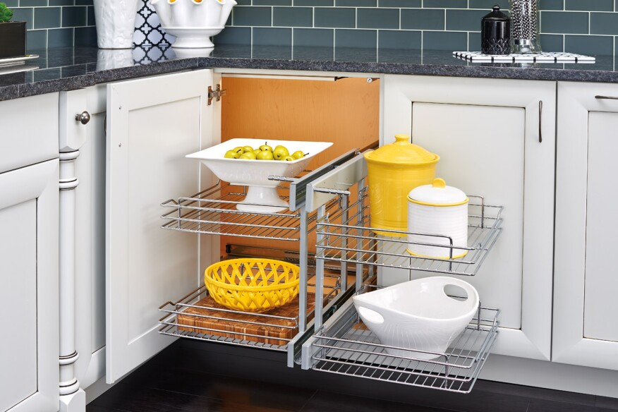 Rev-a-Shelf, corner cabinet, corner kitchen storage, cabinetry organizer