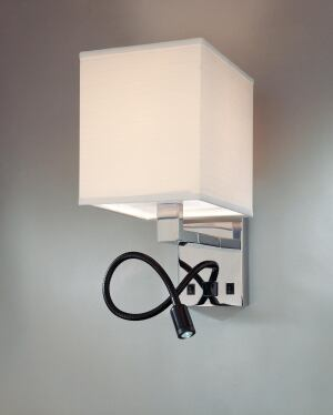 "Cubic LED Sconce    Top Brass Lighting  topbrasslighting.com  Wall sconce with LED reading light on 18"" gooseneck - Fixture and gooseneck available in polished chrome, brushed nickel, and custom finishes - 1W LED emitter on gooseneck - Medium-base socket, 25W bulb on sconce - 16"" tall by 8"" wide with 13"" extension - Off-white linen shade"