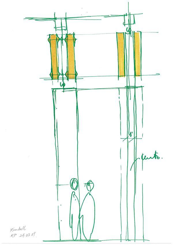 Column detail sketch by Renzo Piano.