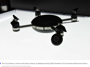 A drone on display at CES in Las Vegas.