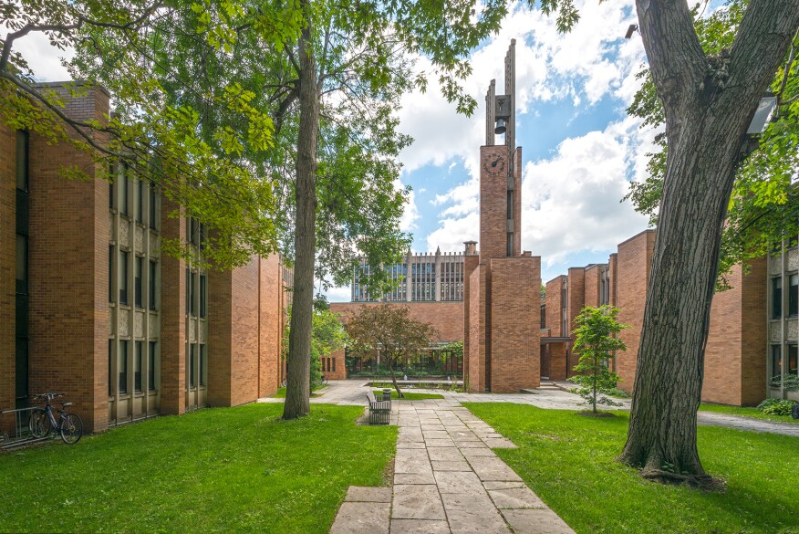 Massey College's quad and bell tower