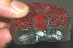 Metal produced by molten oxide electrolysis.