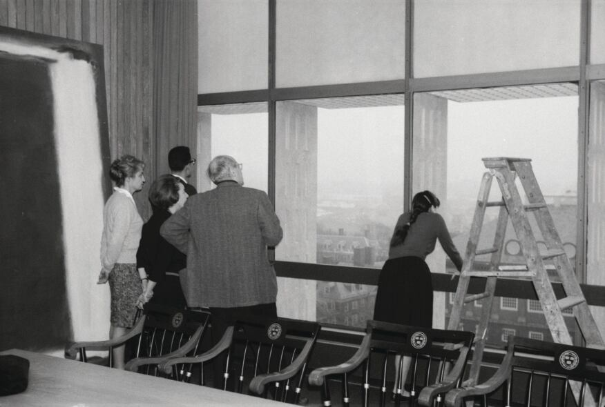 Archival photo of the installation of Panel Five at the Holyoke Center in January 1963.