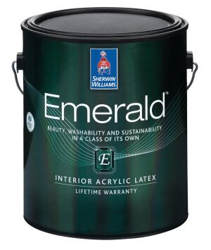 Sherwin-Williams' Emerald line of paint is available in all the manufacturer's colors in matte, satin, or semi-gloss finishes.