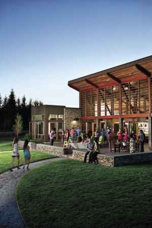 Housing a locally owned cafe and convenient to an extensive trail network, Tehaleh's welcome center is a gathering place for residents and a magnet for neighbors from the surrounding community.