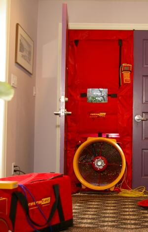 A blower door test determines a home's air tightness. The best time to conduct a blower-door test is after a home is insulated but before the drywall is hung.