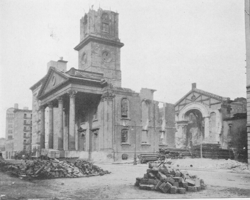 St. John's Chapel being demolished, 1918.