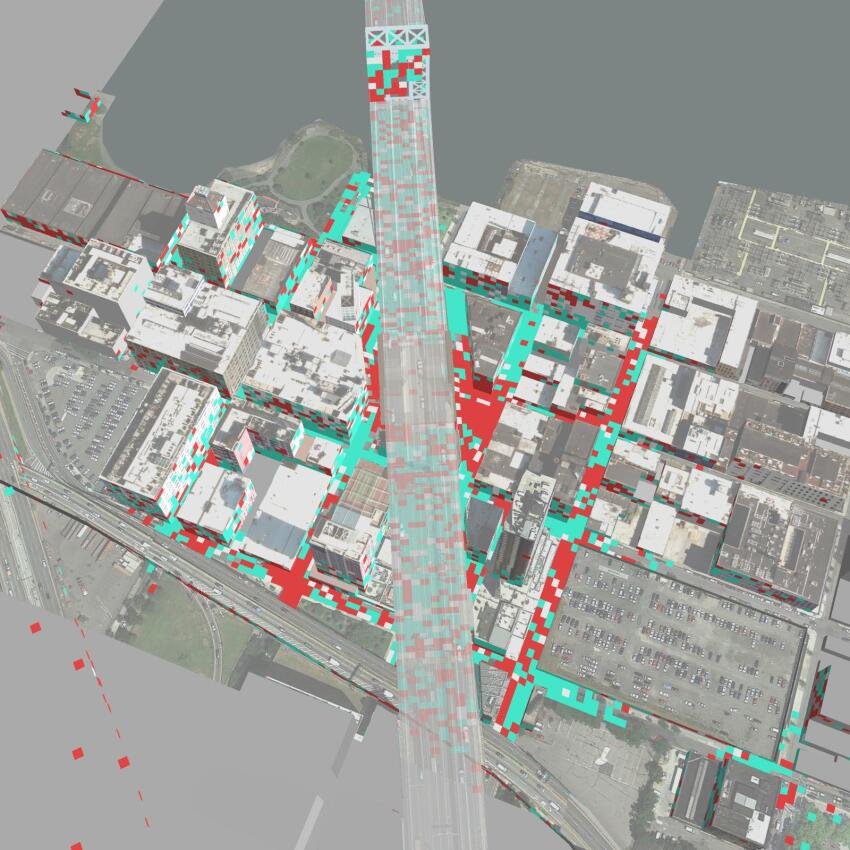 Crosshairs of red zones often appeared at street intersections.