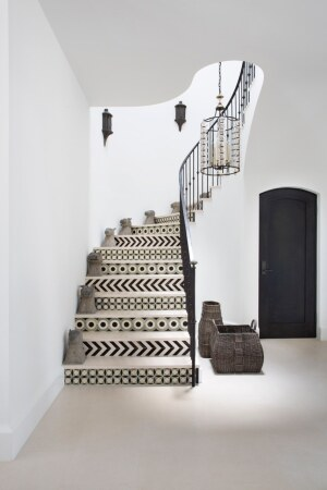 "The staircase in Burnham Design's Mt. Olympus project, which Burnham described as a ""contemporary Los Angeles home… rich with Moroccan accents."" The firm chose its staircase design with the surrounding theme in mind."