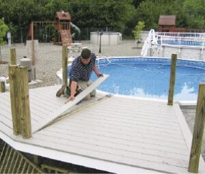 spaces that cost 40000 or simple pressure treated platforms that cost 10 percent of that all aboveground pool decks have tricky angles to work with