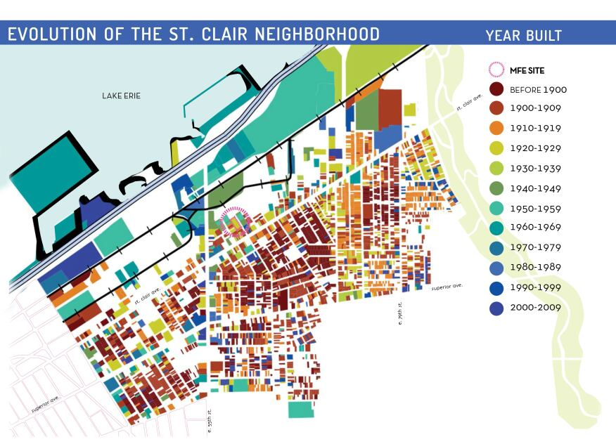 The evolution map of the historic St. Clair neighborhood, an area of eastern Cleveland that dates back to the 1880's. The neighborhood is currently going through a revitalization effort.