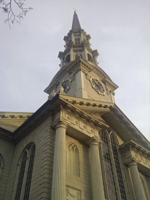 First Unitarian Church at 1 Benevolent Street, in Providence, R.I., is an amalgam of Classical and Gothic architectural features.