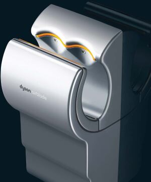 Airblade hand dryer  Dyson  dysonairblade.com  Dries hands in 12 seconds    HEPA filter removes 99.9 percent of bacteria from air used to dry hands    Infrared sensor control for touch-free operation    Uses up to 80 percent less energy than standard hand dryers    Uses Dyson Digital Motor