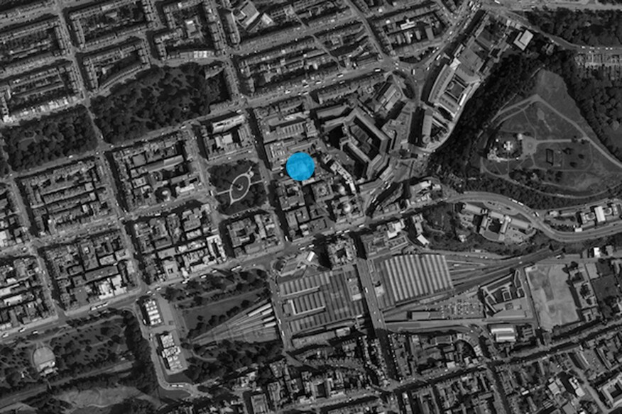 Aerial image of Edinburgh with proposed site.