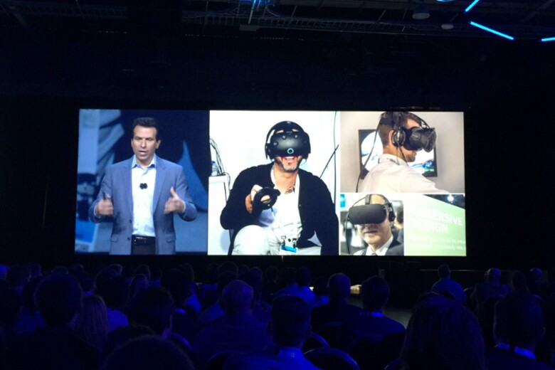 Autodesk senior vice president and chief marketing officer Andrew Anagnost emphasizes virtual reality at the final keynote session.