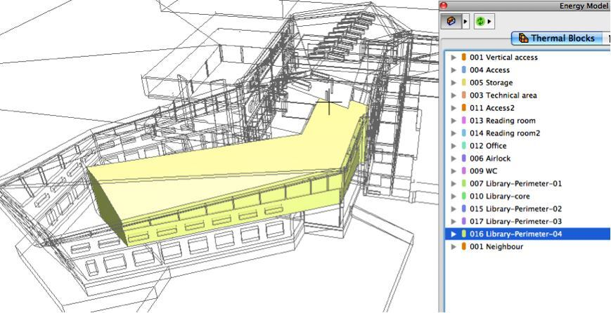 Team members can analyze different thermal blocks with a project in ArchiCAD 17's EcoDesigner Star add-in.