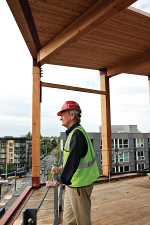 Denis Hayes, photographed on the upper level of the under-construction Bullitt Center in downtown Seattle.