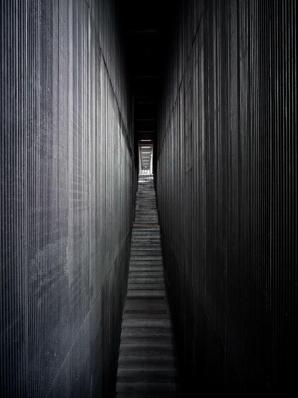 The Design Hub, showing an interior public stair. Frighteningly beautiful or simply frightening?