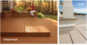 STEP ON IT: From left, TimberTech added a new color, Desert Bronze, to its XLM line of PVC decking. The color features streaks for a more tropical look; Azek says it will be adding darker colors to its PVC decking line this year.