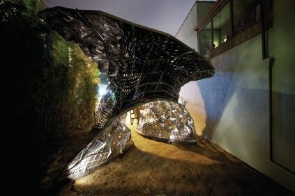 The Bloom pavilion at its site in Los Angeles.
