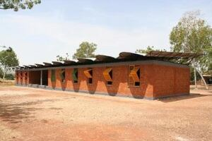 A secondary school with a passive ventilation system designed by Francis Kéré for Gando, Burkina Faso.