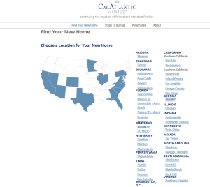 CalAtlantic, the new name of the merged Standard Pacific and Ryland Homes organizations.