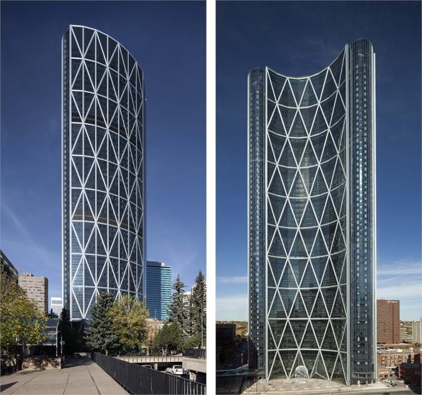 The Bow, a 239-meter-tall skyscraper completed in 2013 by Foster + Partners in Calgary, Alberta, Canada, is clad in PPG's low-E glazing.