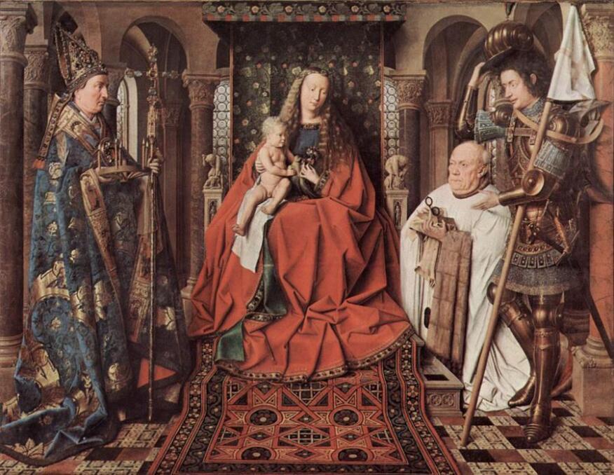 """""""The Virgin and Child with Canon Joris Van der Paele"""" by Jan van Eyck (1436)."""