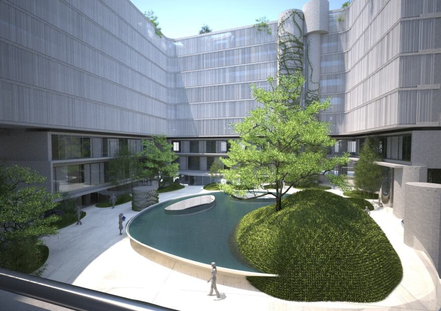 An east-view rendering looking into the courtyard and pond, which serve as the complex's core.