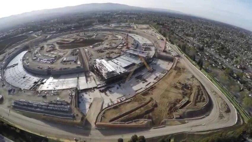 Apple Campus Drone Flyover