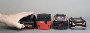 "A battery gauge can tell the operator how much ""fuel"" is in the tank. The gauges on the Bosch, Metabo, Milwaukee, and Ridgid batteries are activated by pressing a button, and can be read on or off the tool."