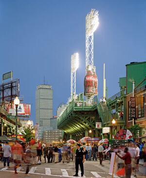 Fenway Park has undergone several transformations and additions over the last few years, with the latest completed in 2011, increasing seating capacity to 37,493. In the background is the Charles Luckman & Associates-designed Prudential Building, criticized harshly in 1964 by the late Ada Louise Huxtable.